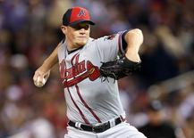 Jul 15, 2014; Minneapolis, MN, USA; National League pitcher Craig Kimbrel (46) of the Atlanta Braves throws a pitch in the 7th inning during the 2014 MLB All Star Game at Target Field. Jesse Johnson-USA TODAY Sports