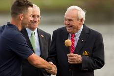 Mar 22, 2015; Orlando, FL, USA; Arnold Palmer (right) congratulates Matt Every after he won the the Arnold Palmer Invitational presented by MasterCard at Bay Hill Club & Lodge. Kevin Liles-USA TODAY Sports