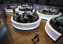 A general view of the Frankfurt stock exchange March 16, 2015. Germany's DAX was up 1.9 percent at 12,133, a record level on Monday.       REUTERS/Ralph Orlowski
