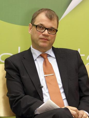 Finnish Centre Party leader Juha Sipila attends a pre-election interview with Reuters at his party headquarters in Helsinki April 7, 2015. REUTERS/Attila Cser