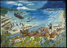 A watercolor by Captain Richard W. Rogers depicts a scene with both historical and archaeological information of the shipwreck of an 83-foot long ship which belonged to King Kamehameha II, aka Liholiho, the second king of Hawaii, courtesy of the Smithsonian National Museum of American History (SI/NMAH).  REUTERS/Smithsonian National Museum of American History/Handout