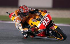 Honda MotoGP rider Marc Marquez of Spain rides his bike during the Qatar MotoGP Grand Prix at the Losail International circuit in Doha in this file photo taken on March 29, 2015.  REUTERS/Fadi Al-Assaad