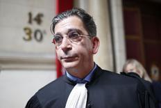 Jean-Marc Fedida, advogado de Arlette Ricci, herdeira da estilista de moda Nina Ricci, deixa tribunal de Paris após veredicto. 13/04/.2015 REUTERS/Charles Platiau
