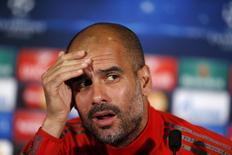 Técnico do Bayern de Munique, Pep Guardiola, em entrevista coletiva. 14/04/2015 REUTERS/Rafael Marchante