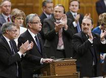 Canada's Finance Minister Joe Oliver speaks about the federal budget in the House of Commons on Parliament Hill in Ottawa April 21, 2015. REUTERS/Chris Wattie