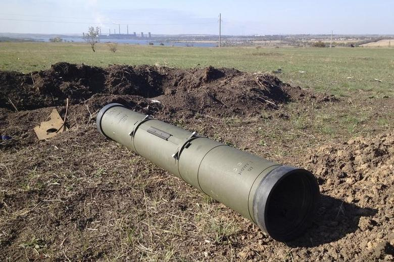 A tube of a Kornet anti-tank guided missile, presumably delivered from Russia, is seen on a battlefield near separatist-controlled Starobesheve in eastern Ukraine October 2, 2014.  REUTERS/Maria Tsvetkova