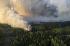 Лесной пожар на севере Украины 28 апреля 2015 года. Украинские пожарные локализовали лесной пожар, угрожавший распространиться в направлении Чернобыльской АЭС, а уровни радиации в районе остаются в пределах нормы, сказал премьер-министр Арсений Яценюк. REUTERS/Andrew Kravchenko/Pool