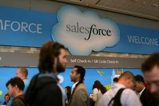 A Salesforce sign is seen as attendees make their way through Moscone Center during the company's annual Dreamforce event, in San Francisco,  REUTERS/Robert Galbraith