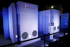 Tesla Energy batteries for businesses and utility companies are pictured providing energy for the Tesla Motors Powerwall Home Battery event in Hawthorne, California. REUTERS/Patrick T. Fallon