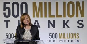 Mary Barra, the CEO for General Motors, speaks during a presentation celebrating 500 Million vehicles built globally including the GM Fairfax assembly plant in Kansas City Kansas May 4, 2015. REUTERS/Dave Kaup