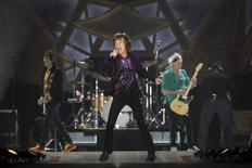 "Keith Richards, Mick Jagger (C) and Ronnie Wood (L) of the Rolling Stones perform during their ""14 on Fire"" concert at the Hayarkon Park in Tel Aviv June 4, 2014. REUTERS/Baz Ratner"