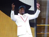Apr 30, 2015; Chicago, IL, USA; Dante Fowler, Jr (Florida) is selected by the Jacksonville Jaguars as the number three overall pick in the first round of the 2015 NFL Draft at the Auditorium Theatre of Roosevelt University. Mandatory Credit: Jerry Lai-USA TODAY Sports