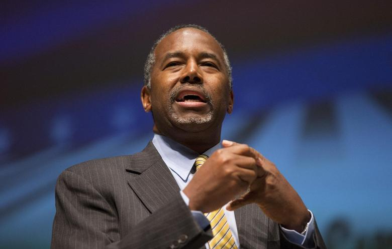 U.S. Republican presidential candidate Dr. Ben Carson speaks during the Freedom Summit in Greenville, South Carolina May 9, 2015. REUTERS/Chris Keane