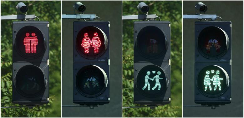 A combination of photos shows gay-themed traffic lights in Vienna May 11, 2015. REUTERS/Heinz-Peter Bader
