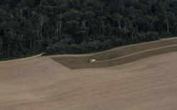 Un tractor trabaja en una plantación de trigo en lo que era selva amazónica virgen, cerca de Uruara, estado de Pará, 23 de abril de 2013. La agencia gubernamental de suministros agrícolas de Brasil, Conab, anticipó el martes una cosecha de trigo para 2015 de 7,05 millones de toneladas, frente a las 5,97 millones de toneladas de 2014, cuando se registraron bajos rendimientos en el estado de Río Grande do Sul. REUTERS/Nacho Doce