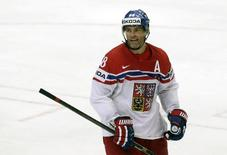 Jaromir Jagr of the Czech Republic celebrates his goal against Germany during their Ice World Championship game at the O2 arena in Prague, Czech Republic May 10, 2015. REUTERS/David W Cerny