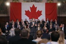 New Democratic Party leader Thomas Mulcair delivers a speech to his caucus on Parliament Hill in Ottawa January 15, 2015. REUTERS/Chris Wattie