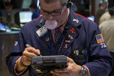 A trader works on the floor of the New York Stock Exchange May 15, 2015.  REUTERS/Brendan McDermid