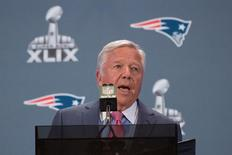 January 26, 2015; Chandler, AZ, USA; New England Patriots owner Robert Kraft addresses the media during a press conference after their arrival in preparation for Super Bowl XLIX at the Sheraton Wild Horse Pass Hotel. Mandatory Credit: Kyle Terada-USA TODAY Sports