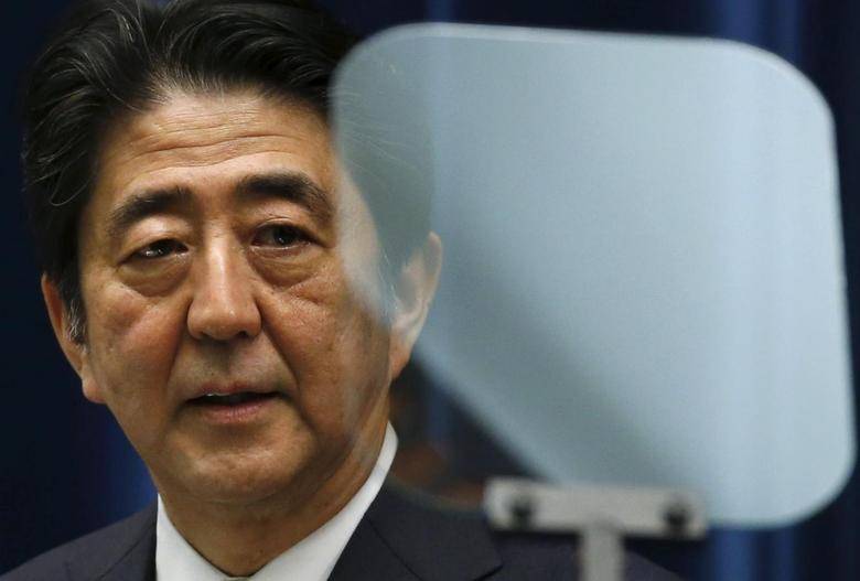 Japan's Prime Minister Shinzo Abe speaks next to a teleprompter during a news conference at his official residence in Tokyo May 14, 2015. REUTERS/Toru Hanai