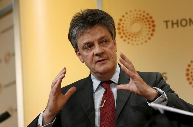 European Commissioner for Financial Services, Jonathan Hill, speaks during a Thomson Reuters Newsmaker event, London April 17, 2015. REUTERS/Cathal McNaughton