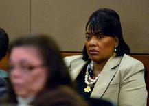 Reverend Bernice King, daughter of the late civil rights leader Martin Luther King Jr., listens during witness statements at the sentencing of former Atlanta public school educators convicted of racketeering, in Atlanta, Georgia April 13, 2015. REUTERS/Kent D. Johnson/Pool