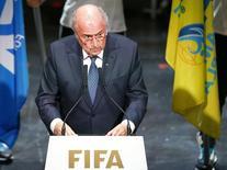 Presidente da Fifa, Joseph Blatter, faz discurso em Congresso em Zurique. 28/5/2015.    REUTERS/Arnd Wiegmann