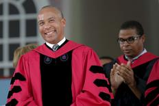 Former Massachusetts Governor Deval Patrick stands to receive an honorary Doctor of Laws degree during the 364th Commencement Exercises at Harvard University in Cambridge, Massachusetts May 28, 2015.    REUTERS/Brian Snyder