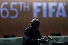 Presidente da Fifa, Joseph Blatter, no congresso da entidade em Zurique, na Suíça, nesta sexta-feira. 29/05/2015 REUTERS/Arnd Wiegmann