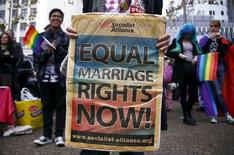 A gay-rights activist holds a banner during a rally supporting same-sex marriage in Sydney, Australia May 31, 2015.  REUTERS/David Gray