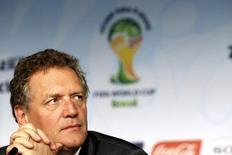 Secretário-geral da Fifa, Jérôme Valcke, durante entrevista coletiva em São Paulo. 20/01/2015  REUTERS/Paulo Whitaker