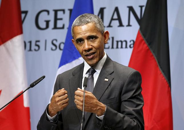 U.S. President Barack Obama speaks during his news conference at the conclusion of the  G7 Summit in the Bavarian town of Kruen, Germany June 8, 2015.  REUTERS/Kevin Lamarque