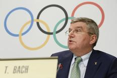 International Olympic Committee (IOC) President Thomas Bach adresses the media during a press conference in Lausanne, Switzerland, June 8, 2015.  REUTERS/Pierre Albouy