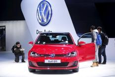 A Volkswagen GTI car is seen during a presentation at the 16th Shanghai International Automobile Industry Exhibition in Shanghai, April 21, 2015. REUTERS/Aly Song