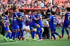 Jun 11, 2015; Ottawa, Ontario, CAN; Players on the Thailand bench react after a goal against Ivory Coast in the first half of a Group B soccer match in the 2015 FIFA women's World Cup at Lansdowne Stadium. Mandatory Credit: Marc DesRosiers-USA TODAY Sports