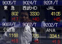 Un peatón se refleja en un tablero electrónico que muestra varios índices de precios, afuera de una agencia de la bolsa, en Tokyo, Japón, 20 de mayo de 2015. Las bolsas de Asia subían levemente el viernes luego de que las negociaciones de la deuda griega tomaron otro giro confuso, y el dólar se mantenía firme gracias al reporte de unos datos optimistas de ventas minoristas en Estados Unidos. REUTERS/Yuya Shino