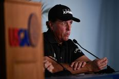 Jun 16, 2015; University Place, WA, USA; Phil Mickelson addresses the media in a press conference during practice rounds on Tuesday at Chambers Bay. Mandatory Credit: Michael Madrid-USA TODAY Sports