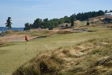Jun 15, 2015; University Place, WA, USA; General view of the 16th hole during practice rounds on Monday at Chambers Bay. Mandatory Credit: John David Mercer-USA TODAY Sports