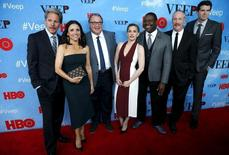 "Actress Julia Louis-Dreyfus (2nd L) poses with fellow cast members at the New York Premiere of the fourth season of the HBO television series ""VEEP"" in New York City April 6, 2015.   REUTERS/Mike Segar"