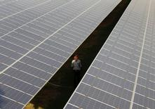 A private security guard walks between rows of photovoltaic solar panels inside a solar power plant at Raisan village near Gandhinagar, in the western Indian state of Gujarat, February 11, 2014. REUTERS/Amit Dave