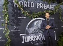 "Cast member Chris Pratt poses at the premiere of ""Jurassic World"" in Hollywood, California, June 9, 2015. The movie opens in the U.S. on June 12. REUTERS/Mario Anzuoni"