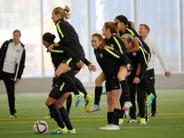 Jun 28, 2015; Montreal, Quebec, CAN; United States players play a game during a training session for the 2015 Women's World Cup at Stade de Soccer de Montreal. Mandatory Credit: Michael Chow-USA TODAY Sports
