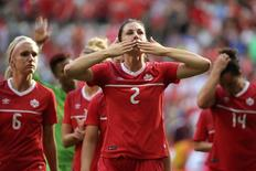 Vancouver, British Columbia, CAN; Canada defender Emily Zurrer (2) reacts after losing to England in the quarterfinals of the FIFA 2015 Women's World Cup at BC Place Stadium. England won 2-1, Jun 27, 2015.   Matt Kryger-USA TODAY Sports