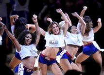 Jun 9, 2015; Cleveland, OH, USA; Cleveland Cavaliers cheerleaders perform during the second quarter of game three of the NBA Finals against the Golden State Warriors at Quicken Loans Arena. Mandatory Credit: David Richard-USA TODAY Sports
