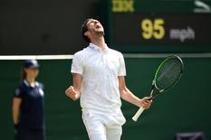 Tennis - Wimbledon - All England Lawn Tennis & Croquet Club, Wimbledon, England - 2/7/15 Men's Singles - Great Britain's James Ward celebrates winning his second round match: Action Images / Tony O'Brien