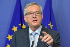 Jean-Claude Juncker, presidente da Comissão Europeia, durante entrevista coletiva em Luxemburgo.    01/07/2015  REUTERS/Eric Vidal