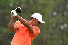 Tiger Woods takes a practice swing on the 11th tee at The Old White TPC. Mandatory Credit: Bob Donnan-USA TODAY Sports