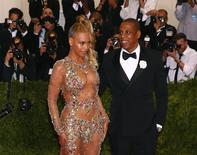 "Beyonce arrives with husband Jay-Z at the Metropolitan Museum of Art Costume Institute Gala 2015 celebrating the opening of ""China: Through the Looking Glass,"" in Manhattan, New York May 4, 2015.   REUTERS/Lucas Jackson"