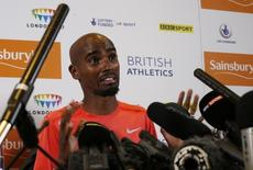 Athletics - IAAF Diamond League 2015 - Sainsbury's Birmingham Grand Prix Preview Press Conferences - Birmingham - 6/6/15 Great Britain's Mo Farah during a press conference. Action Images via Reuters / Andrew Boyers