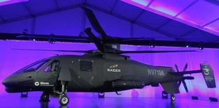 The new Sikorsky Aircraft S-97 RAIDER helicopter, is seen during its unveiling ceremony at Sikorsky Aircraft in Jupiter, Florida October 2, 2014. REUTERS/Andrew Innerarity